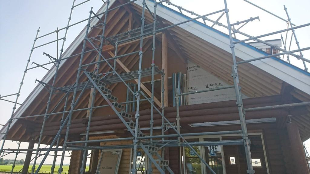 栃木県注文住宅、木の家「ログハウス」、構造見学会初日を迎えました!