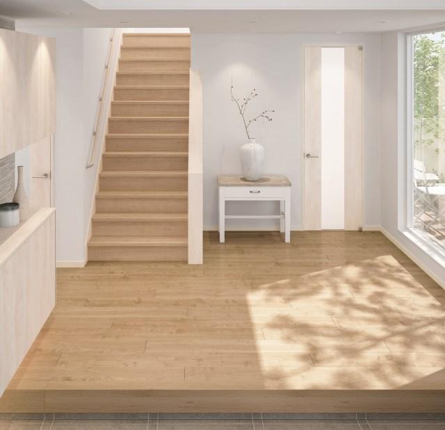 大建工業から、シート床材と色柄合わせができる階段を発売する