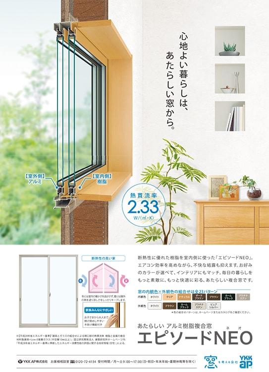 アルミ樹脂複合窓「エピソードNEO」熱貫流率2.33