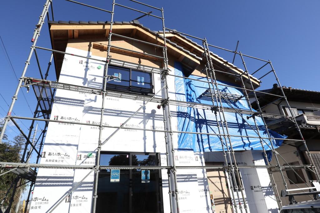 茨城県筑西市の「和モダンな注文住宅」断熱吹付工事が完了しました!