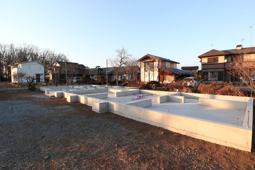 茨城県古河市内にて人気の注文住宅「平屋」基礎工事完了です!
