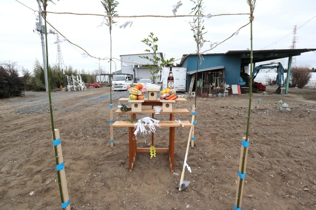 茨城県筑西市注文住宅「総タイル貼りの二世帯住宅」地鎮祭を行いました!