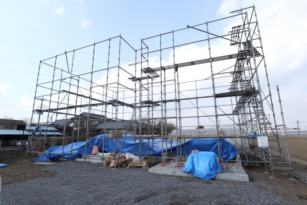茨城県筑西市「総タイル貼りの注文住宅」いよいよ上棟へ!