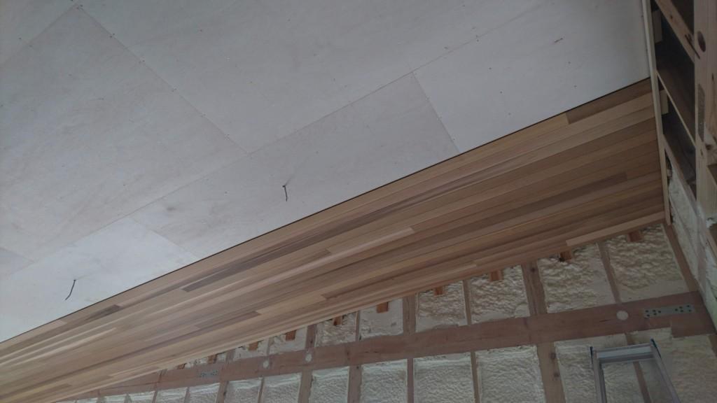 茨城県古河市注文住宅「スタイリッシュな平屋」リビングの天井に...