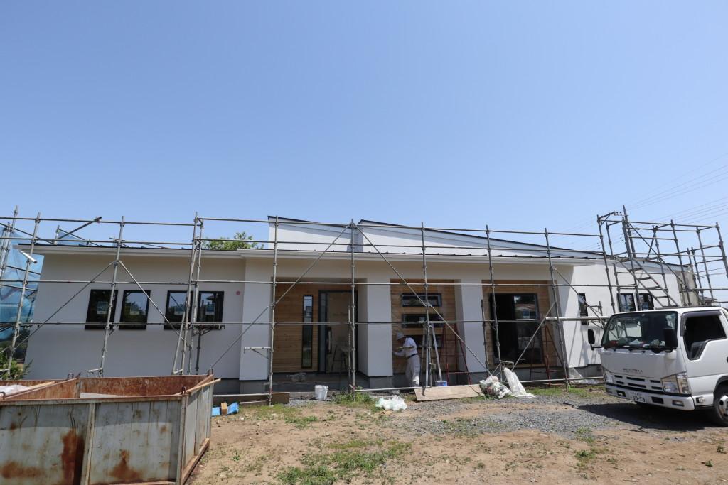 茨城県注文住宅「スタイリッシュな平屋」外壁ジョリパッド完成へ!
