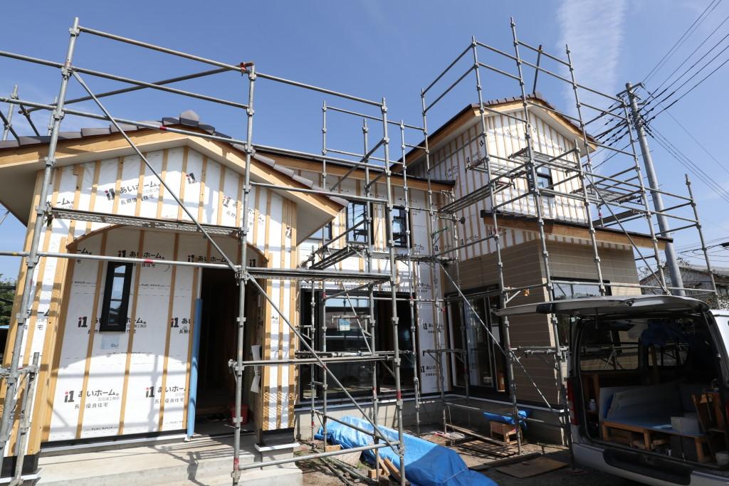茨城県筑西市「吹き抜けのある注文住宅」外壁工事が始まりました!