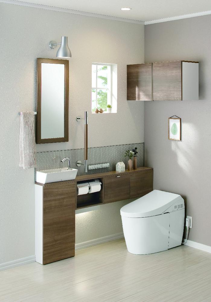 TOTOから、好みのトイレ空間が選べるカウンター付き手洗い器を発売へ