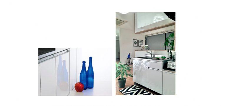 アイオ産業から、セクショナルキッチンの標準扉を鏡面仕上げグレードアップ